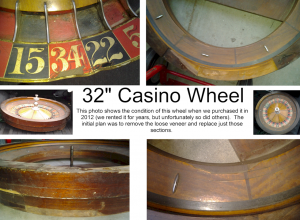 "Roulette Wheel 32"" BEFORE with damage.  Amerifun Wichita."